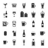 Drinksymboler på vit bakgrund stock illustrationer