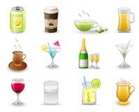 drinksymbolsset Royaltyfri Fotografi