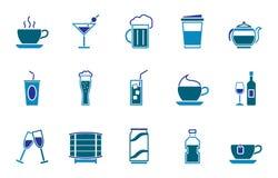 Drinksymbolsuppsättning stock illustrationer