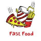 Drinkt de snel voedsel vastgestelde pizza hamburger Royalty-vrije Stock Foto