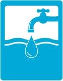Drinkwatersymbool met tapkraan, kraan en water D Stock Afbeeldingen