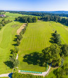Drinving Range Golfcourt. This is an aerial shot of a driving range on a golf court in Bavaria Germany Royalty Free Stock Image