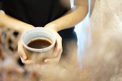 Drip coffee. Beautyful drip coffee in her hand stock photo