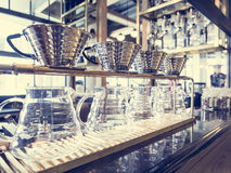 Drip Coffee Glass Kit display in Coffee shop Cafe Vintage Royalty Free Stock Photo