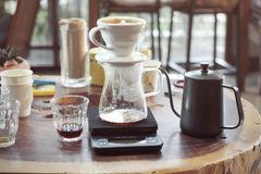 Drip Coffee Glass Kits in a Coffee shop cafe, drink. Royalty Free Stock Image