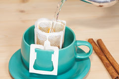 Drip coffee with hot water Stock Image