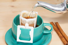 Drip coffee with hot water Royalty Free Stock Photography