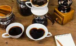 drip coffee tools and coffee bean Stock Photos