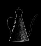 Drip Kettle. Black&white Drip Kettle in black background Stock Image