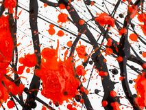 Dripping black and red paint Flowing fuel oil splashes, drops and trail stock illustration