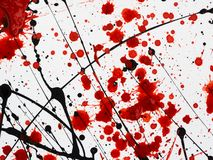 Dripping black and red stains of paint similar to blood Flowing fuel oil splashes, drops and traces vector illustration