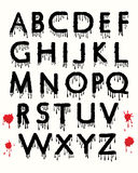 Dripping Blood. Alphabet with splashing blood stains Stock Images