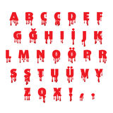 Dripping blood fonts alphabet Stock Images