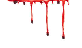 Dripping blood isolated on white stock image