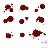 Dripping blood isolated on white. Vector Set Royalty Free Stock Photo