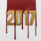 Dripping blood numbers 2017  on white Royalty Free Stock Photo