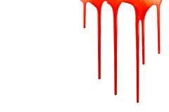 Dripping blood on white with copy space. Blood oozing down on white background with copy space on the left Stock Images