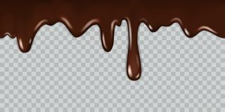 Dripping chocolate. Delicious gourmet chocolate liquid frame syrup cooking melted chocolates bitter with drops isolated royalty free illustration