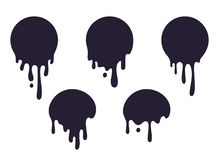 Free Dripping Circle Paint. Round Liquid Blob Drops, Ink Graffiti Splash Shape, Chocolate Caramel Milk Leak. Vector Circular Stock Image - 144800241