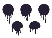 Dripping circle paint. Round liquid blob drops, ink graffiti splash shape, chocolate caramel milk leak. Vector circular royalty free illustration