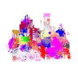 Dripping colorful city skyline Stock Photo