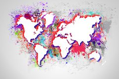 Dripping colorful world map. Stock Photo