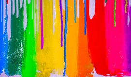 Dripping colors. Colorful of plastisol ink are dripping by in opposite directions Royalty Free Stock Photos
