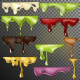 Dripping drops vector dripped liquid and dropping splash illustration set of realistic flowing paint splatter dripple Royalty Free Illustration