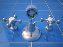 Dripping faucet. Illustration of a dripping faucet - low angle - rendered in 3d Stock Images