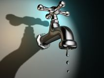 Dripping faucet. Conceptual faucet dripping water - rendered in 3d Stock Photos