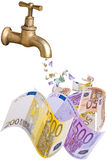 A dripping faucet banknotes. This image shows banknotes falling from a faucet. shows a dripping banknotes faucet Royalty Free Stock Photos