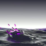 Dripping fluid, deformed corona from water with a violet border and splashes. Royalty Free Stock Photos