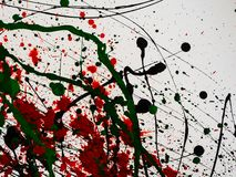 Dripping green and black and red paint isolated on white background. Flowing fuel oil splashes, drops and trail.  stock photos