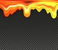 Dripping honey on black checkered background, golden color oil or caramel vector illustration Stock Image