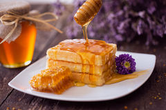 Dripping honey from a wooden dipper on fresh waffle Stock Image