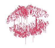 Dripping Kiss. Kiss Imprint Dripping and Wet Royalty Free Stock Photography