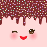 Dripping Melted chocolate Glaze with sprinkles. Kawaii cute face with eyes and smile. pink background for your text. Vector royalty free illustration
