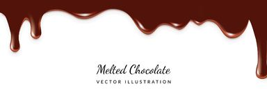 Dripping Melted Chocolate. S Isoalted. Realistic 3d Vector Illustration of Liquid Chocolate Cream or Syrup with Place for Text Royalty Free Stock Photo