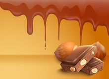 Dripping Melting Chocolate Background Royalty Free Stock Photos