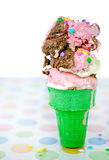 Dripping Neapolitan ice cream cone Royalty Free Stock Photography