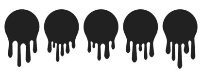 Dripping paint icon set. Current liquid. Paint flows. Melted circle logo. Current stains and inks. Vector illustration.  vector illustration