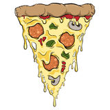 Dripping pizza slice. A slice of pizza dripping with melting cheese and toppings Royalty Free Stock Photography