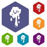 Dripping slime icons set hexagon Stock Photos