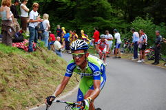 Dripping with sweat. A cyclist (Vincenzo Nibali - Liquigas team) is climbing the first kilometers of the Zoncolan slope during the last Giro d'Italia 2010 race ( Stock Images