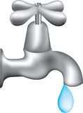 Dripping tap. Illustration of an isolated tap dripping water Royalty Free Stock Photos
