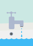 Dripping Tap. A vector illustration of a tap dripping water, a metaphor on environmental waste Royalty Free Stock Photos