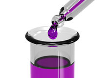 Dripping into test tube. Illustration of a pipette dripping a colored chemical into a test tube Royalty Free Stock Photo