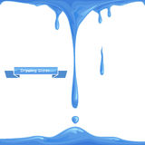 Dripping Water. Water dripping down on a white background and splash drops Stock Image