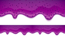 Drips of blueberry jam. Horizontal border. Royalty Free Stock Images