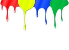 Drips of color paint Stock Image